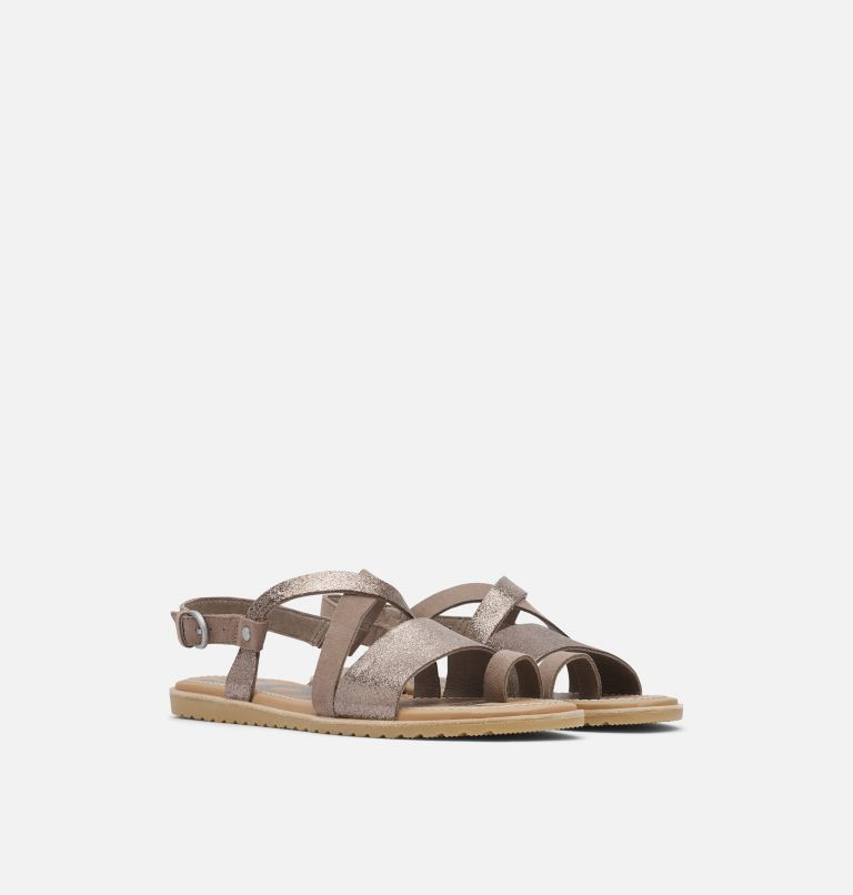 ELLA™ CRISS CROSS | 240 | 9 Women's Ella™ Criss Cross Sandal, Ash Brown, 3/4 front