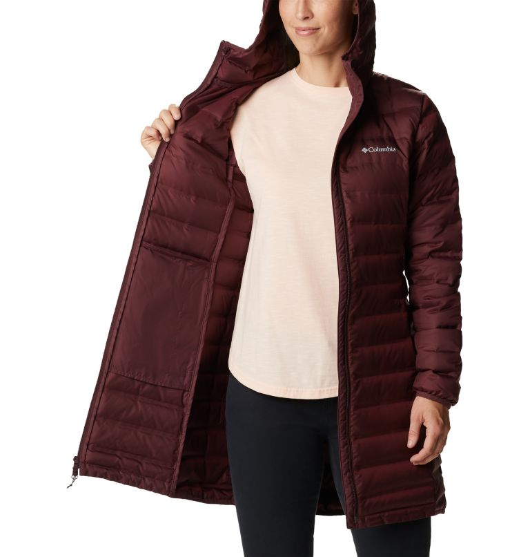 Lake 22™ Down Long Hooded Jacket | 671 | XS Women's Lake 22™ Down Long Hooded Jacket, Malbec, a3