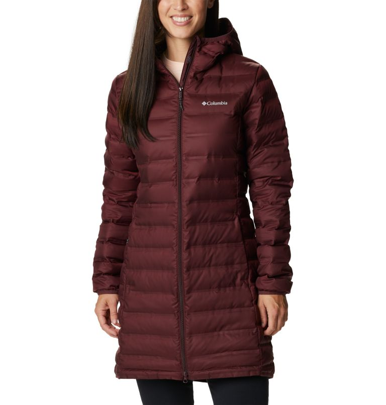 Lake 22™ Down Long Hooded Jacket | 671 | XS Women's Lake 22™ Down Long Hooded Jacket, Malbec, front