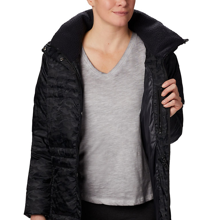 Black Jacquard Women's Ruby Falls™ Down Mid Jacket, View 3