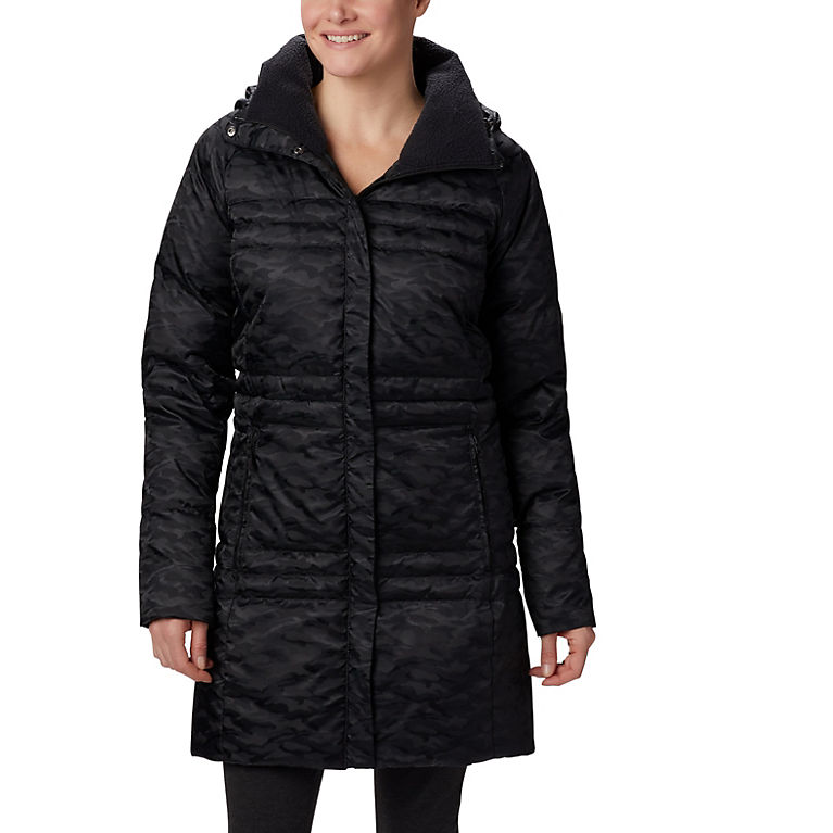 Black Jacquard Women's Ruby Falls™ Down Mid Jacket, View 0