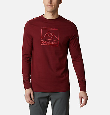 Men's Cades Cove™ Long Sleeve Graphic Tee Cades Cove™ LS Graphic Tee | 011 | L, Red Jasper Jagged Peak, front