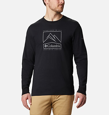 T-shirt Cades Cove Long Sleeve Graphic da uomo Cades Cove™ LS Graphic Tee | 011 | S, Black Jagged Peak, front