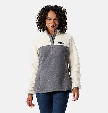 Pullover con cierre medio a presión Benton Springs™ para mujer Benton Springs™ 1/2 Snap Pullover | 604 | S, City Grey Heather, Chalk, front