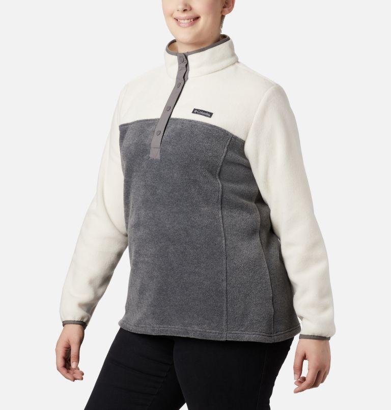 Benton Springs™ 1/2 Snap Pullover | 023 | 1X Women's Benton Springs™ Half Snap Pullover - Plus Size, City Grey Heather, Chalk, a3