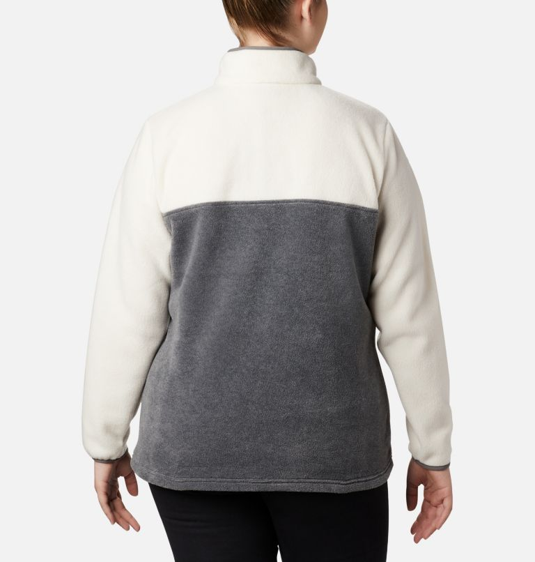 Benton Springs™ 1/2 Snap Pullover | 023 | 1X Women's Benton Springs™ Half Snap Pullover - Plus Size, City Grey Heather, Chalk, back