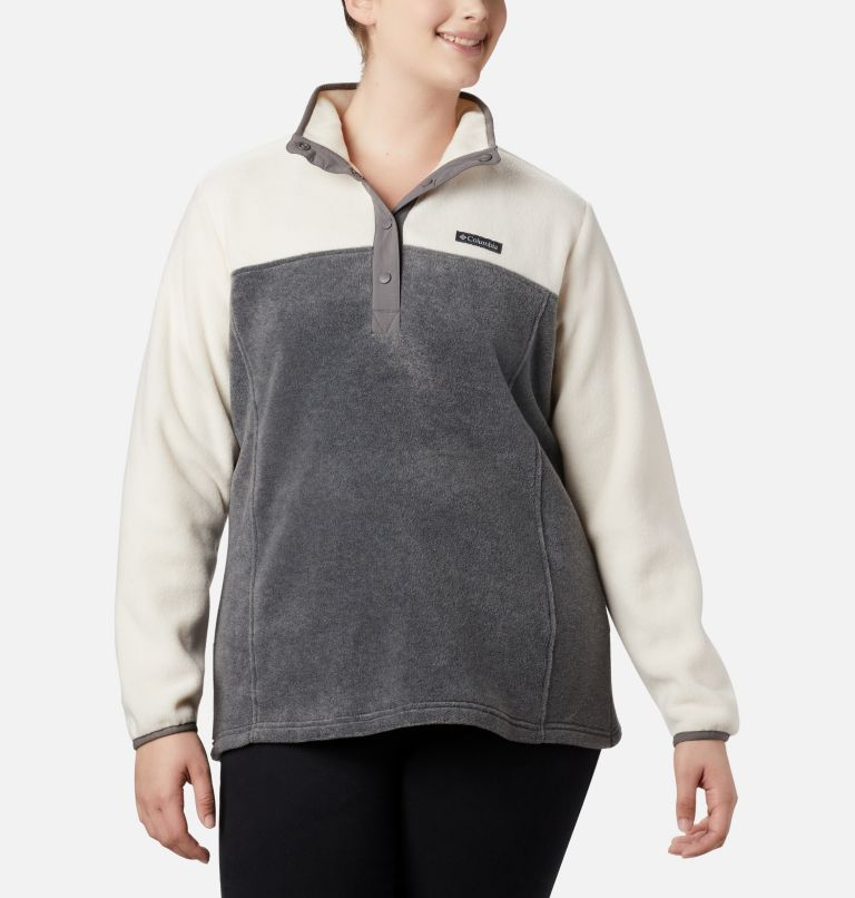Benton Springs™ 1/2 Snap Pullover | 023 | 2X Women's Benton Springs™ Half Snap Pullover - Plus Size, City Grey Heather, Chalk, front