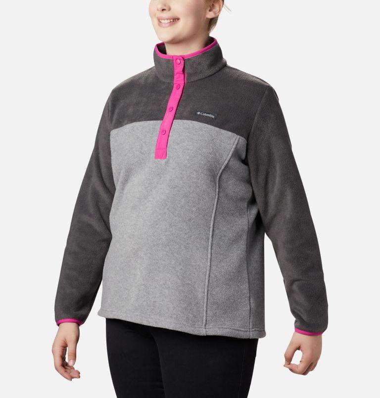 Benton Springs™ 1/2 Snap Pullover | 060 | 3X Women's Benton Springs™ Half Snap Pullover - Plus Size, Light Grey Heather, Shark, a2