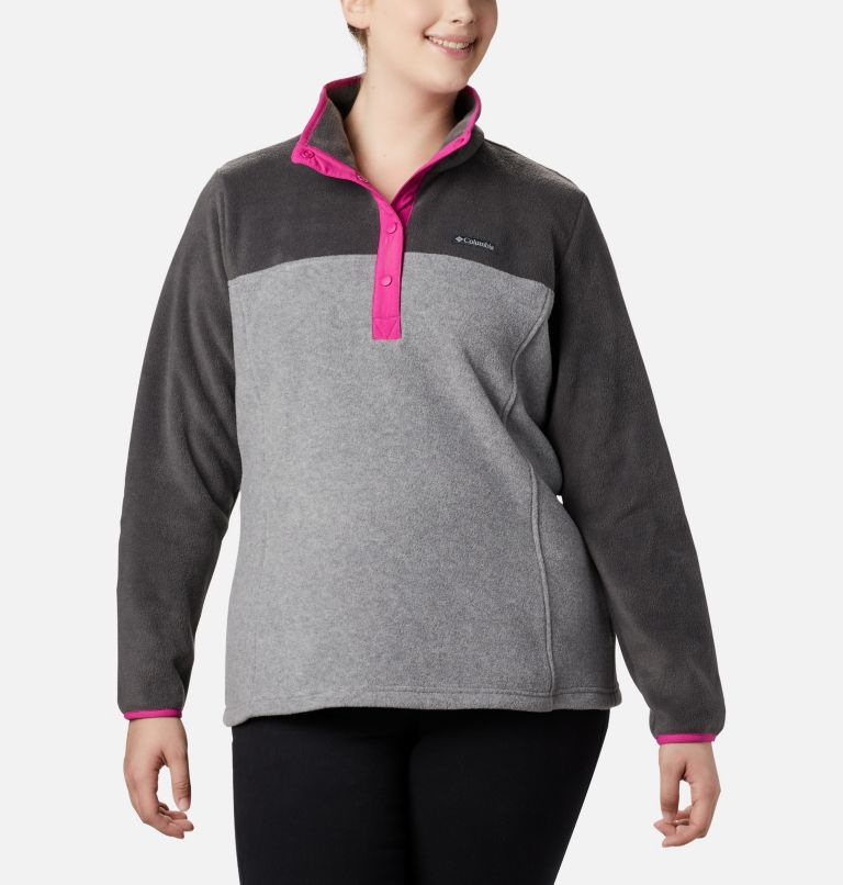 Benton Springs™ 1/2 Snap Pullover | 060 | 3X Women's Benton Springs™ Half Snap Pullover - Plus Size, Light Grey Heather, Shark, front