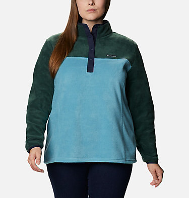 Women's Benton Springs™ Half Snap Pullover - Plus Size Benton Springs™ 1/2 Snap Pullover | 671 | 1X, Spruce, Canyon Blue, front