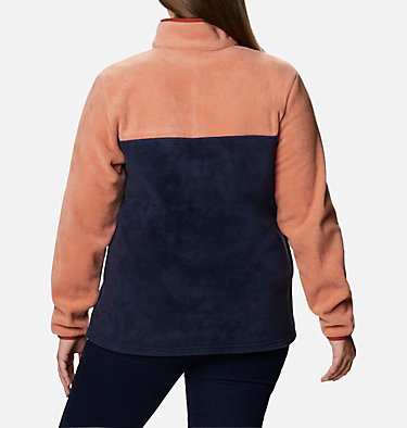 Women's Benton Springs™ Half Snap Pullover - Plus Size Benton Springs™ 1/2 Snap Pullover | 671 | 1X, Nova Pink, Dark Nocturnal, back