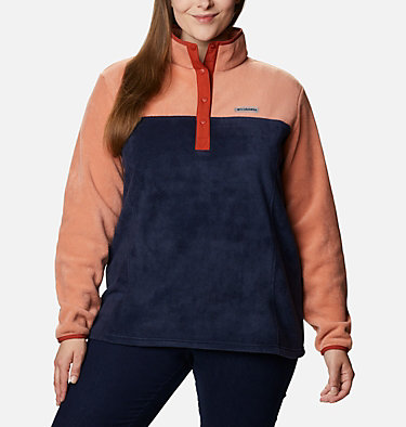 Women's Benton Springs™ Half Snap Pullover - Plus Size Benton Springs™ 1/2 Snap Pullover | 671 | 1X, Nova Pink, Dark Nocturnal, front