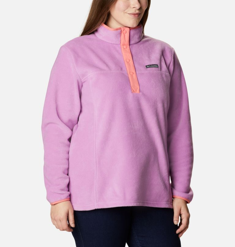 Benton Springs™ 1/2 Snap Pullover | 605 | 2X Women's Benton Springs™ 1/2 Snap Pullover - Plus Size, Blossom Pink, Salmon, a3