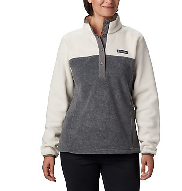 Women's Benton Springs™ Half Snap Pullover - Petite Benton Springs™ 1/2 Snap Pullover | 060 | PXS, City Grey Heather, Chalk, front
