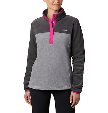 Women's Benton Springs™ Half Snap Pullover - Petite Benton Springs™ 1/2 Snap Pullover | 060 | PXS, Light Grey Heather, Shark, front