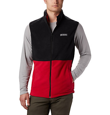 Men's Basin Trail™ Fleece Vest - Big Basin Trail™ Fleece Vest | 030 | 1X, Mountain Red, Black, front
