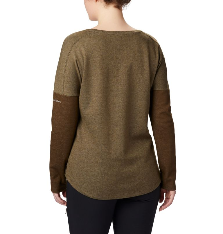Times Two™ Novelty Knit LS | 319 | 2X Women's Times Two™ Novelty Knit Long Sleeve Shirt - Plus Size, Olive Green, back