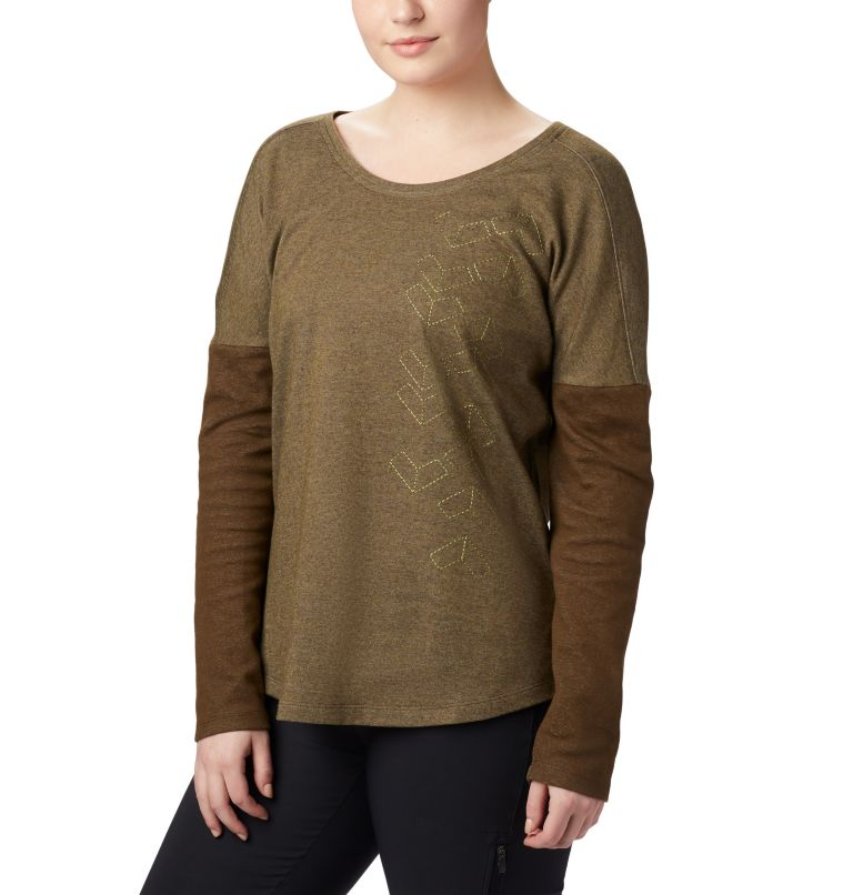 Times Two™ Novelty Knit LS | 319 | 2X Women's Times Two™ Novelty Knit Long Sleeve Shirt - Plus Size, Olive Green, front