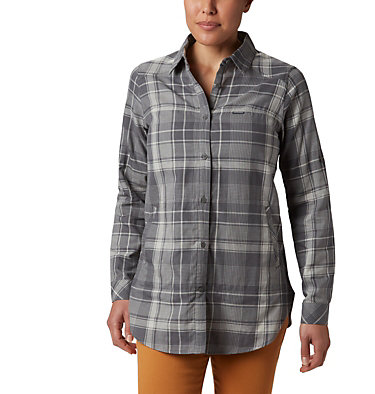 Women's Times Two™ Long Sleeve Tunic Times Two™ LS Tunic | 523 | L, City Grey Plaid, front