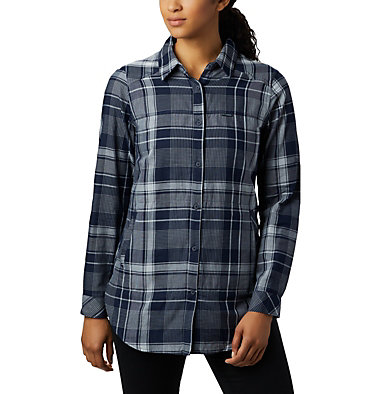 Women's Times Two™ Long Sleeve Tunic Times Two™ LS Tunic | 523 | L, Dark Nocturnal Plaid, front