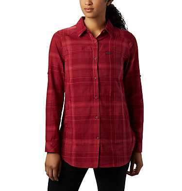 Women's Times Two™ Long Sleeve Tunic Times Two™ LS Tunic | 523 | L, Beet Plaid, front