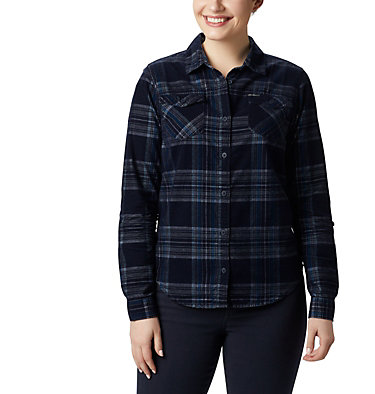 Women's Times Two™ Corduroy Long Sleeve Shirt Times Two™ Corduroy LS Shirt | 375 | L, Dark Nocturnal Plaid, front