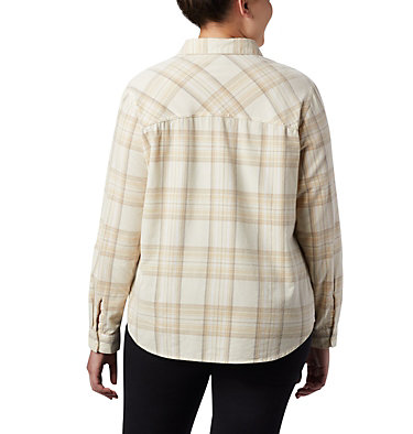 Women's Times Two™ Corduroy Long Sleeve Shirt - Plus Size Times Two™ Corduroy LS Shirt | 375 | 1X, Chalk Plaid, back