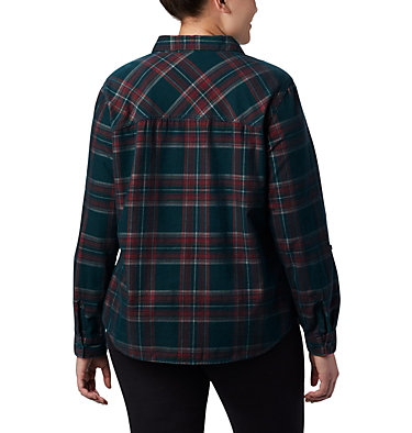 Women's Times Two™ Corduroy Long Sleeve Shirt - Plus Size Times Two™ Corduroy LS Shirt | 375 | 1X, Dark Seas Plaid, back