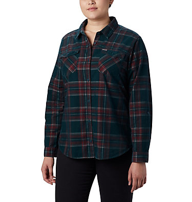 Women's Times Two™ Corduroy Long Sleeve Shirt - Plus Size Times Two™ Corduroy LS Shirt | 375 | 1X, Dark Seas Plaid, front