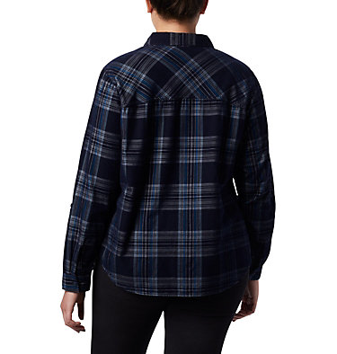 Women's Times Two™ Corduroy Long Sleeve Shirt - Plus Size Times Two™ Corduroy LS Shirt | 375 | 1X, Dark Nocturnal Plaid, back