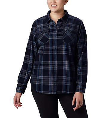 Women's Times Two™ Corduroy Long Sleeve Shirt - Plus Size Times Two™ Corduroy LS Shirt | 375 | 1X, Dark Nocturnal Plaid, front