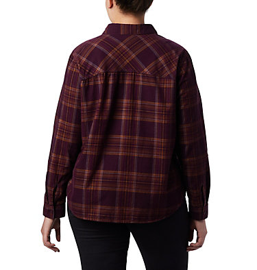 Women's Times Two™ Corduroy Long Sleeve Shirt - Plus Size Times Two™ Corduroy LS Shirt | 375 | 1X, Black Cherry Plaid, back