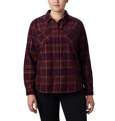 Women's Times Two™ Corduroy Long Sleeve Shirt - Plus Size Times Two™ Corduroy LS Shirt | 375 | 1X, Black Cherry Plaid, front