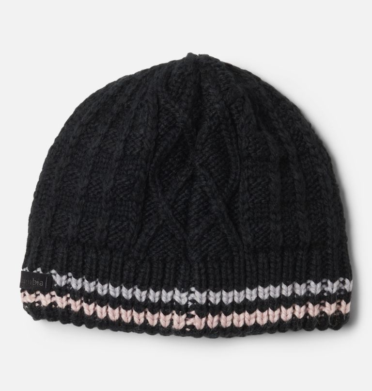 Cabled Cutie™ Youth Beanie | 011 | S/M Kids' Cabled Cutie™ Beanie, Black, Columbia Grey, Mineral Pink, back