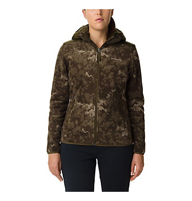 Women's Winter Pass Print Fleece Full Zip Jacket Winter Pass™ Print Fleece Full | 472 | S, Olive Green CloudsCamo Print,Olive Green, front