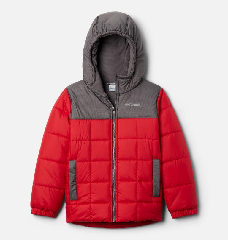 Puffect™ II Puffer Full Zip | 614 | L Boys' Puffect II Puffer Full-Zip Jacket, Mountain Red, City Grey, front