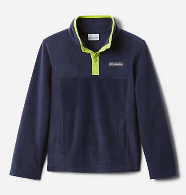 Pullover in pile Steens Mtn™ Bambini Steens Mtn™ 1/4 Snap Fleece Pull-over | 466 | XS, Collegiate Navy, Bright Chartreuse, front