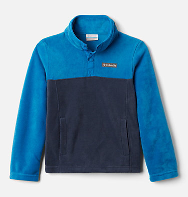 Pullover in pile Steens Mtn™ Bambini Steens Mtn™ 1/4 Snap Fleece Pull-over | 466 | XS, Collegiate Navy, Bright Indigo, front