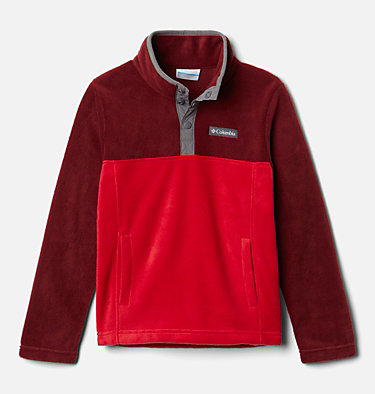 Kids' Steens Mountain™ 1/4 Snap Fleece Pull-Over Steens Mtn™ 1/4 Snap Fleece Pull-over | 013 | L, Mountain Red, Red Jasper, front
