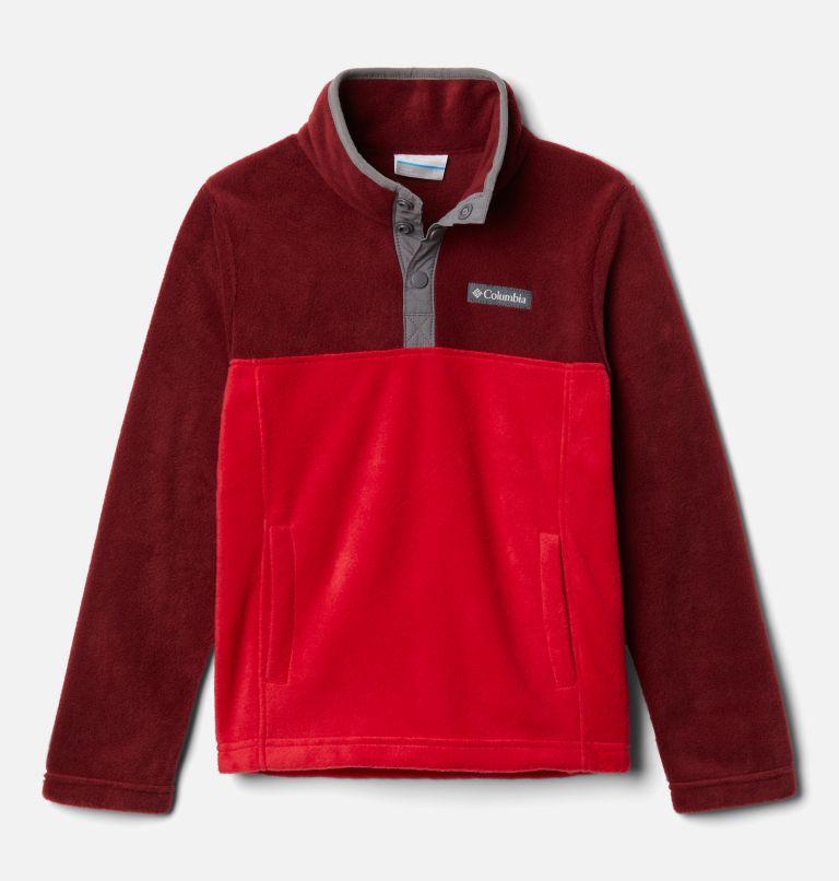 Steens Mtn™ 1/4 Snap Fleece Pull-over | 614 | S Kids' Steens Mountain™1/4 Snap Fleece Pull-Over, Mountain Red, Red Jasper, front
