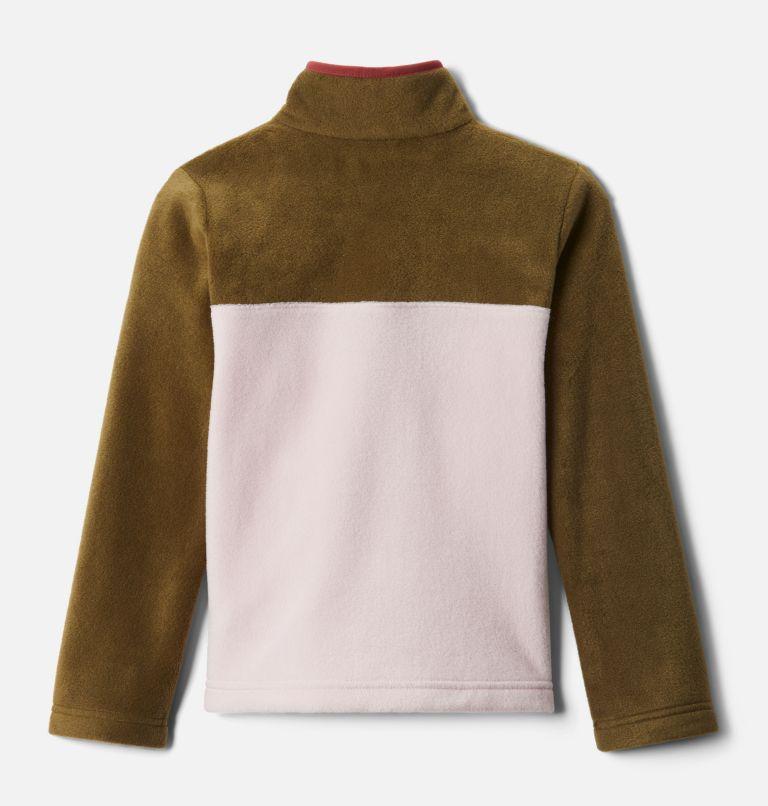 Steens Mtn™ 1/4 Snap Fleece Pull-over | 618 | XS Kids' Steens Mountain™1/4 Snap Fleece Pull-Over, Mineral Pink, New Olive, back