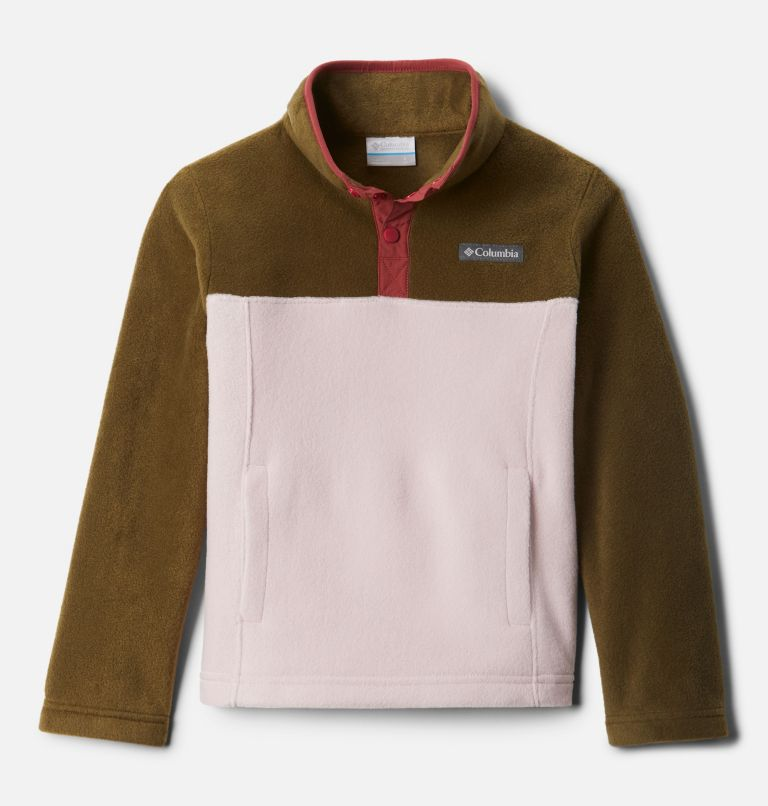 Steens Mtn™ 1/4 Snap Fleece Pull-over | 618 | M Kids' Steens Mountain™1/4 Snap Fleece Pull-Over, Mineral Pink, New Olive, front