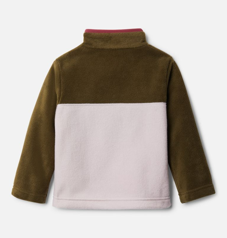 Steens Mtn™ 1/4 Snap Fleece Pull-over | 618 | 4T Toddler Steens Mtn™ Quarter Snap Fleece Pullover, Mineral Pink, New Olive, back