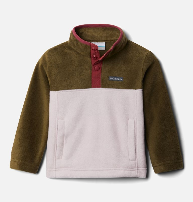 Steens Mtn™ 1/4 Snap Fleece Pull-over | 618 | 3T Toddler Steens Mtn™ Quarter Snap Fleece Pullover, Mineral Pink, New Olive, front