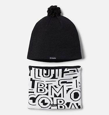 Toddler Snow More™ Hat and Gaiter Set Youth Snow More™ Hat and Gaiter Set | 356 | O/S, Black Typo Print, back