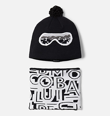 Toddler Snow More™ Hat and Gaiter Set Youth Snow More™ Hat and Gaiter Set | 356 | O/S, Black Typo Print, front