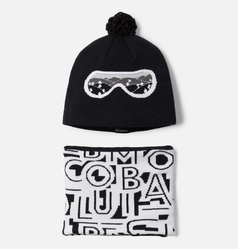 Youth Snow More™ Hat and Gaiter Set | 010 | O/S Toddler Snow More™ Hat and Gaiter Set, Black Typo Print, front