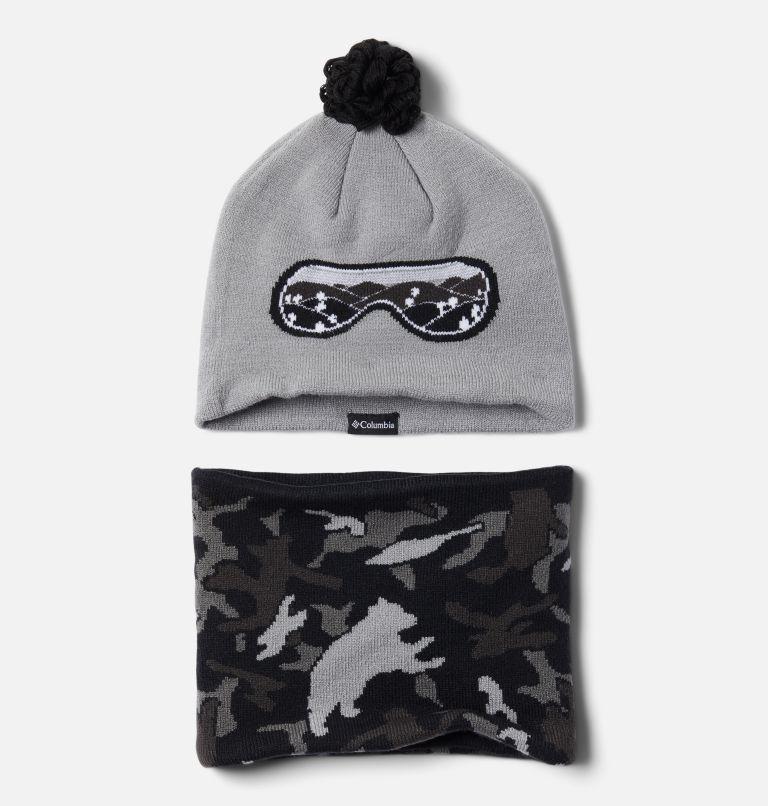 Youth Snow More™ Hat and Gaiter Set | 039 | O/S Snow More Set aus Hut und Gamasche für Kinder, Columbia Grey Critter Camo, front