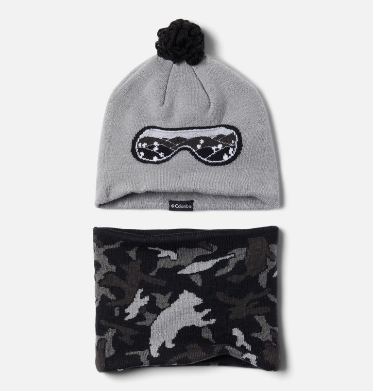 Youth Snow More™ Hat and Gaiter Set | 039 | O/S Toddlers' Snow More Hat and Gaiter Set, Columbia Grey Critter Camo, front