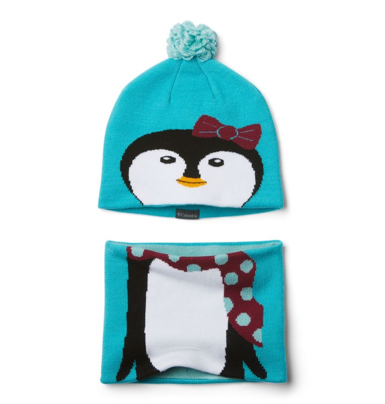 Youth Snow More™ Hat and Gaite | 336 | O/S Toddlers' Snow More Hat and Gaiter Set, Geyser Penguin, front